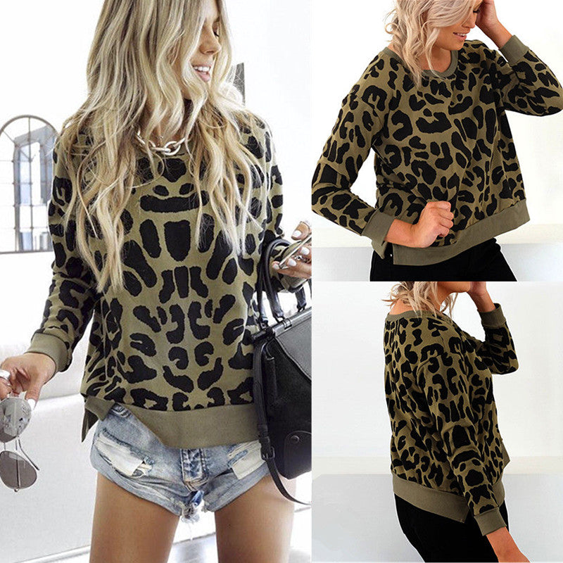 Women Long Sleeve Pullover Leopard Baggy Top Ladies Casual Jumper Blouse | Edlpe