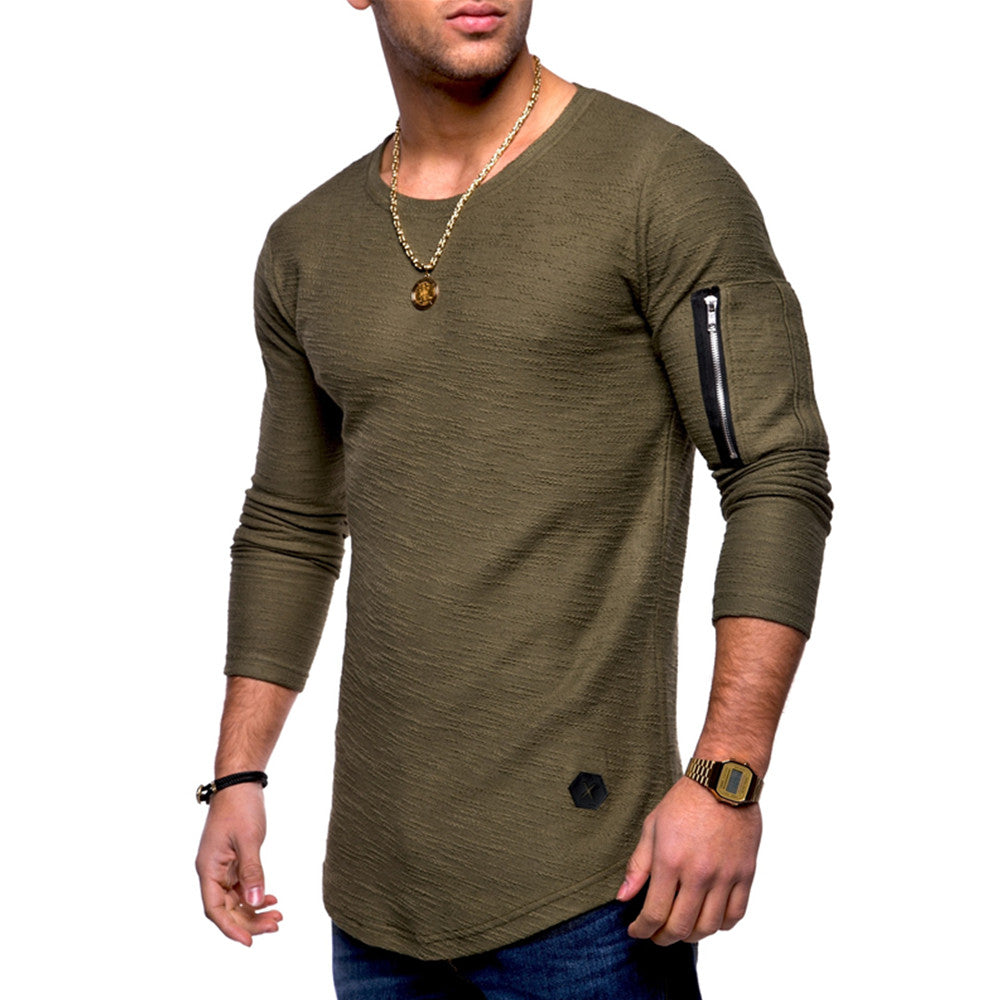 Fashion Mens Zipper Long Sleeve Crew Neck Slim-Fit Tops Blouse Casual Shirt | Edlpe