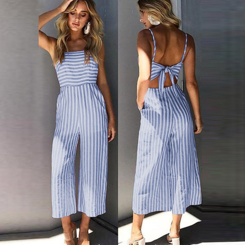 Women Striped Sleeveless Playsuit Bow Tie Back Long Jumpsuit Ladies Pocket Summer Beach Romper | Edlpe