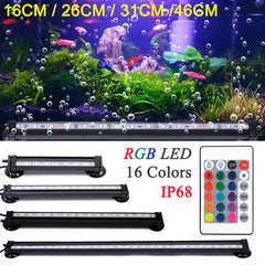 Waterproof Air Bubble Lamp Remote Control LED Aquarium Fish Tank Light/16CM 26CM 31CM 46CM 5050 RGB