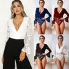 Image of Women Long Sleeve V Neck Lace Shirt Bodysuit Leotard Tops Jumpsuit Solid Romper | Edlpe