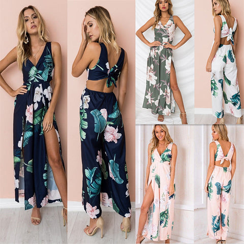 Women V Neck Satin Tie Knot Back Jumpsuit Summer High Split Romper Loose Trouser | Edlpe