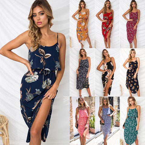 Womens Holiday Strappy Midi Dress Ladies Summer Beach Side Split Sun Dresses | Edlpe