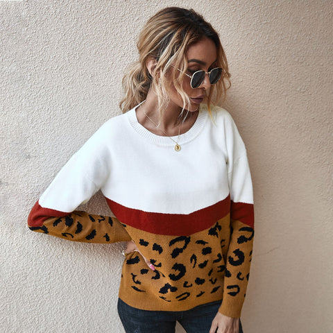 Fashion Leopard Patchwork Autumn Winter 2020 Ladies Knitted Sweater Women O-neck Full Sleeve Jumper Pullovers Top Khaki Brown