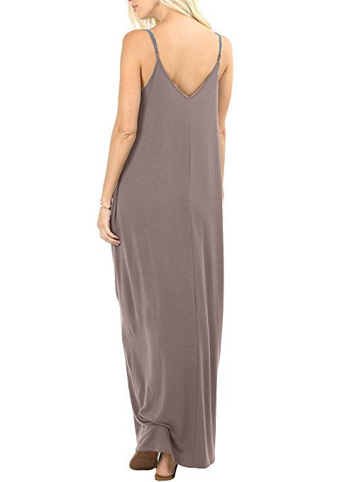 Casual Pure Color Sling Pocketed Loose Long Sundress | Edlpe