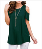 Image of Pure Color Cold Shoulder Short Sleeves Loose Blouse | Edlpe