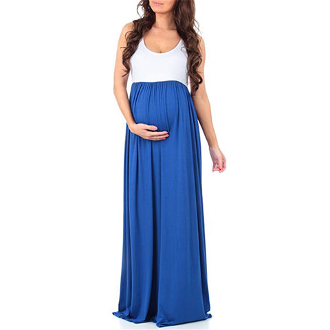 Leisure Pregnant Wear Scoop Collar Sleeveless Stitching Long Dress | Edlpe