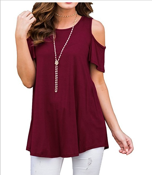 Pure Color Cold Shoulder Short Sleeves Loose Blouse | Edlpe