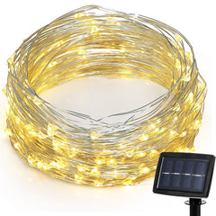 Solar Powered String Lights 2 Modes Steady on Or Flash LED Copper Wire Waterproof String Light