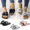 Image of Women Fashion Sequin Flower Shape Slipper Summer Flats Outdoor Slipper Slip On Sandals | Edlpe