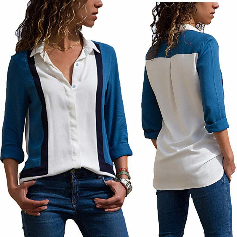 Womens V Neck Long Sleeve Career Button Blouse Lady Casual Patchwork Shirt Top | Edlpe