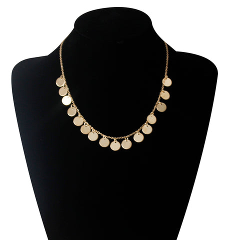Round Sequins Short Choker Chain Necklace Bright Holiday Party Surprise