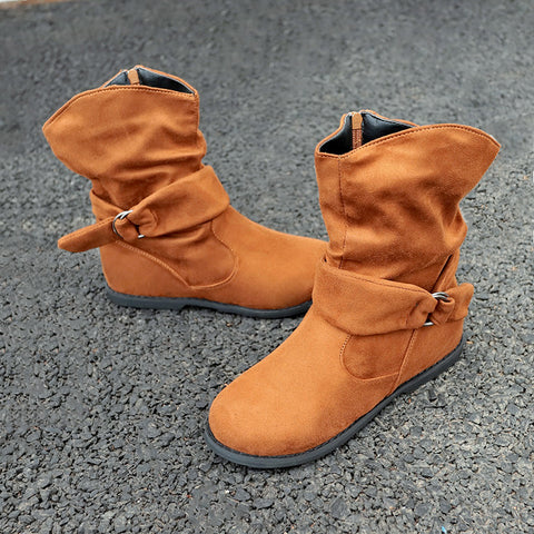 Women Fashion Faux Suede Mid Calf Boots Slouch Side Zip Up Flat Booties | Edlpe