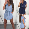 Image of Womens Casual Denim Summer Shirt Dress Ladies Short Sleeve Holiday Long Tops | Edlpe