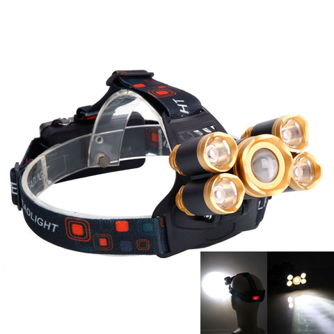 US Warehouse Delivered within 7 days Newest Headlamp 3.7V 2400LM 5T6 Flexible Zoom Highlight Outdoor Lighting Aircraft Head Headlamp Golden