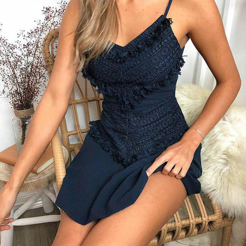 Womens V Neck Lace Mini Dress Strappy Dress Back Tie Back Backless Summer Beach Sundress | Edlpe