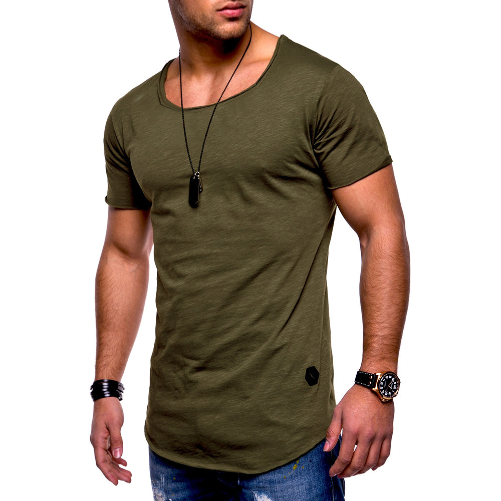 Mens Summer Short Sleeve Muscle T-Shirt Slim Fit O Neck Casual Solid Tops Plus Size | Edlpe