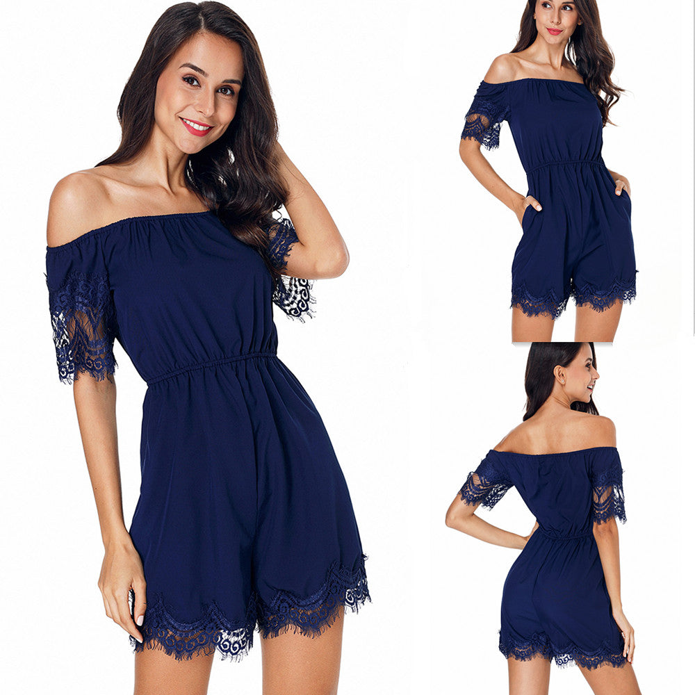 Women Sexy Off Shoulder Lace Jumpsuit Ladies Short Sleeve Playsuit Casual Party Short Rompers | Edlpe