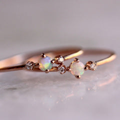 Rose Gold Ring Round White Opal White Sapphire Jewelry Gift Engagement