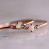 Image of Rose Gold Ring Round White Opal White Sapphire Jewelry Gift Engagement | Edlpe
