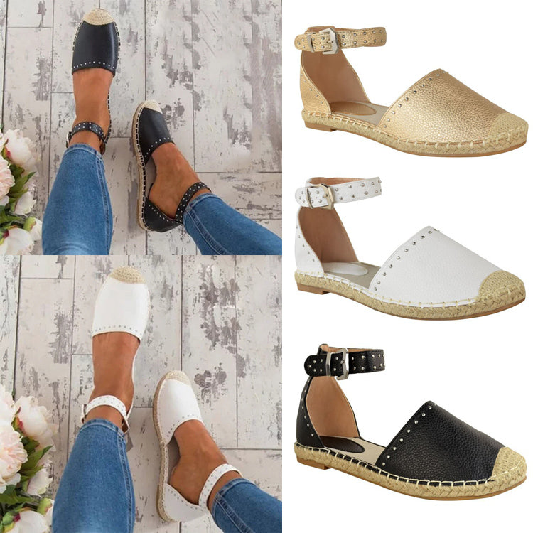 Fashion Womens Casual Flat Shoe Low Heels Ankle Strap Buckle Espadrilles Sandals | Edlpe