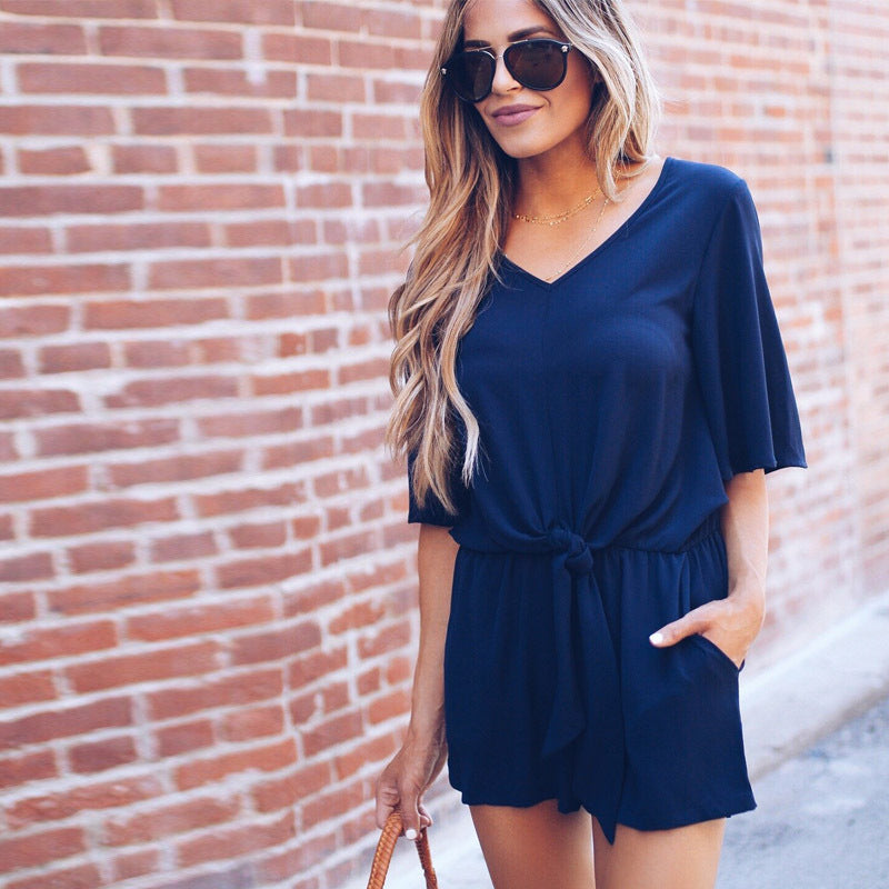 Womens V Neck Bandages Mini Playsuits Summer Holiday Shorts Sundress Jumpsuit | Edlpe