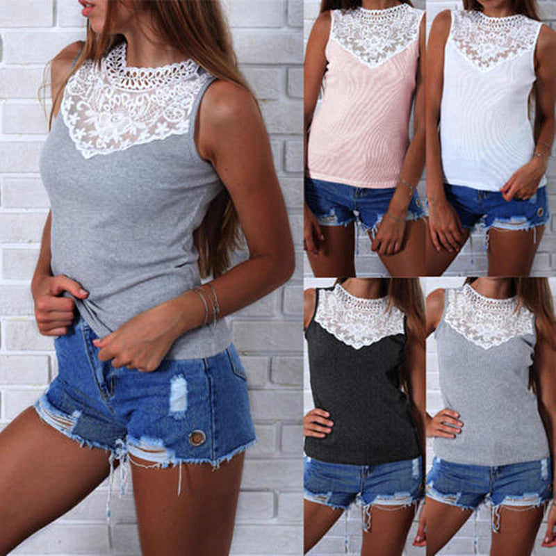 Womens Sleeveless Lace Patchwork Vest Tops Summer Ladies Casual Blouse T Shirt | Edlpe