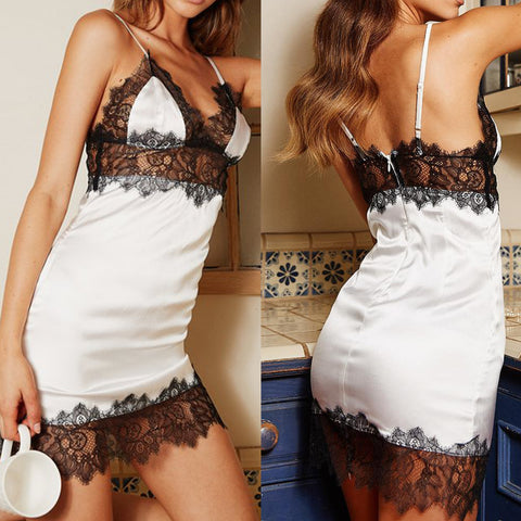 Women Sexy Deep V Backless Lace Sling Lingerie Underwear Sleepwear Nightwear Pajamas | Edlpe