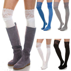 Fashion Womens Over The Knee Socks Thigh High Stretchy Lace Patchwork Socks Legging Solid Stocking | Edlpe