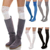 Image of Fashion Womens Over The Knee Socks Thigh High Stretchy Lace Patchwork Socks Legging Solid Stocking | Edlpe
