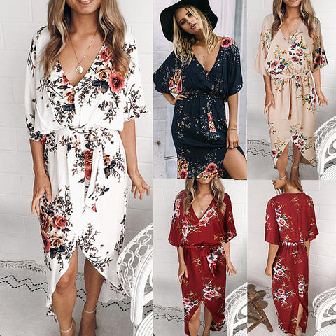 Plus Size Women V Neck Floral Printed Short Sleeve Dress Summer Split Asymmetric Beach Sundress | Edlpe