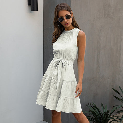 Summer Casual Sleeveless Dress Women Lace Up Sweet O-neck Solid High Waist Short Solid Dress 2020 New
