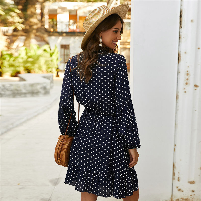 Vintage Ruffles Dot Print Dress Women Full Sleeve Stand Collar Button Slim Casual Spring Summer Dress Female 2020 New
