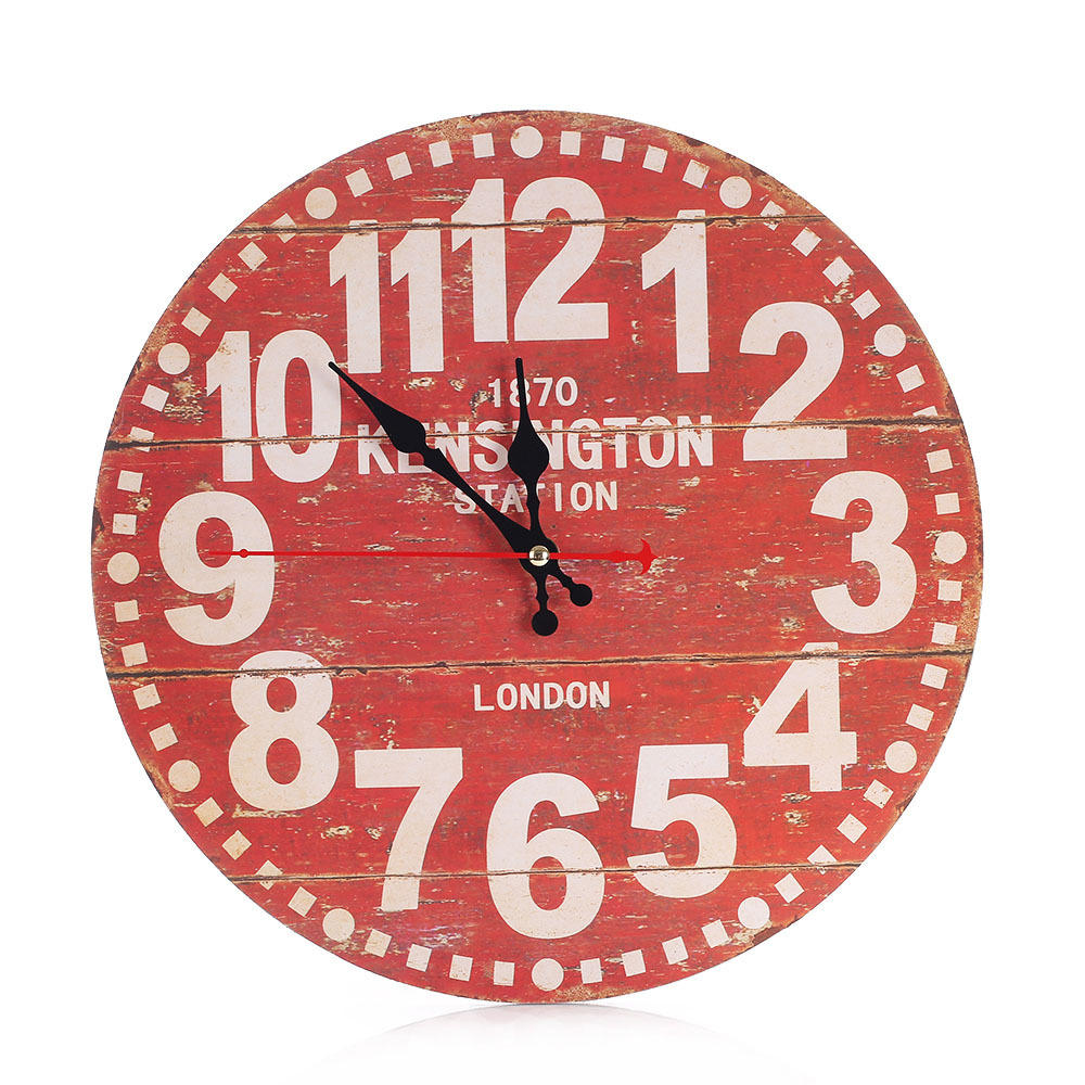 Large Vintage Wooden Wall Clock Shabby Chic Rustic Kitchen Home Antique Style | Edlpe