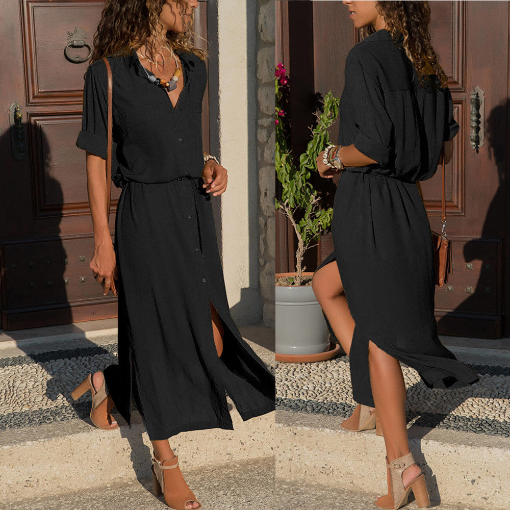 Womens V Neck Long Sleeve Shirt Maxi Dress Ladies Casual Button Long Split Dress | Edlpe