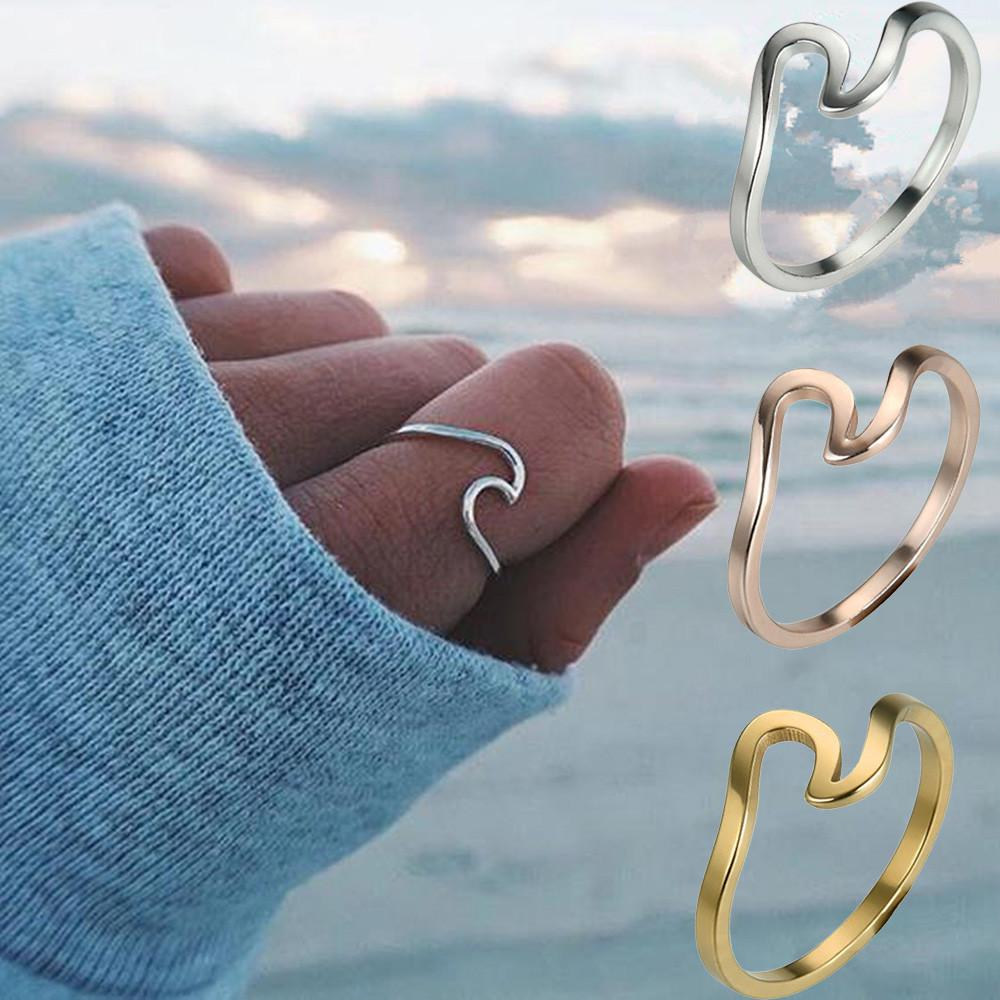 Fashion Women Girl Simple Metal Wave Rings Mix Colors Beach Lovers Jewelry | Edlpe