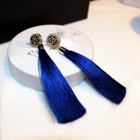 Vintage Jewelry Bohemian Silk Fringe Tassle Drop Crystal Earrings For Women | Edlpe