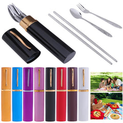Portable Tableware Stainless Steel Cutlery Steak Fork Dinnerware Set For Outdoor Travel | Edlpe