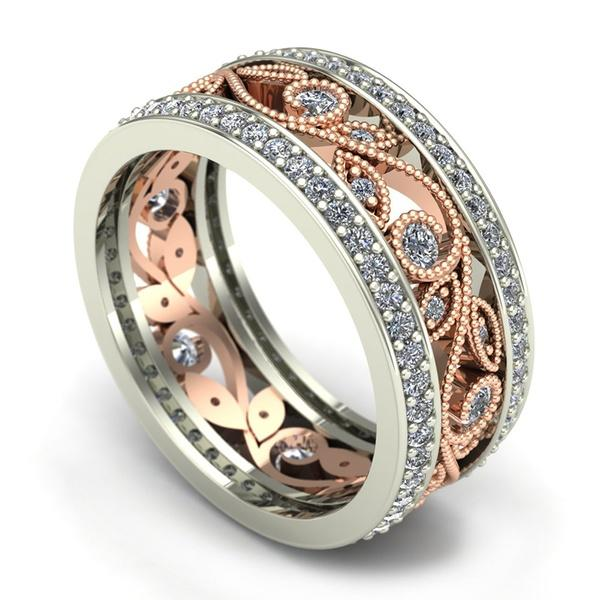 Beautiful Womens Silver Plated Floral Ring Elegant Vine Flower Leaf Jewelry | Edlpe