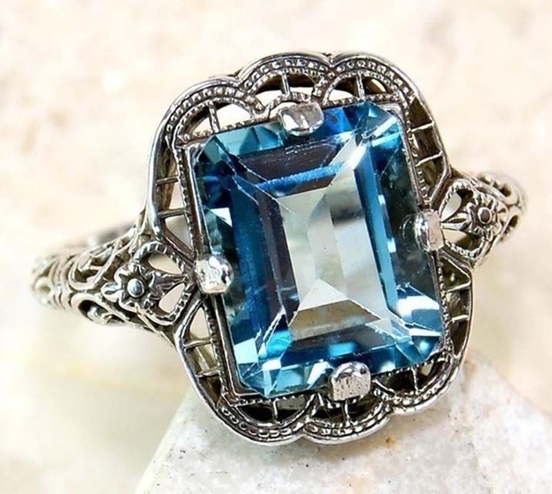 Fashion Vintage Finger Ring Silver Color Princess Cut Crystal Zircon Jewelry For Women | Edlpe