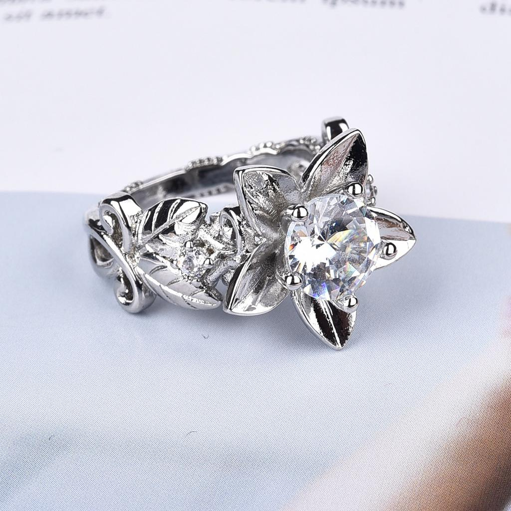 Womens Fashion Flower Leaf Shape Rings For Women Promise Bands Party Jewelry | Edlpe