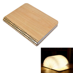 LED Night Light Folding Book Light USB Port Rechargeable Wooden Magnet Cover Home Table Desk Lamp