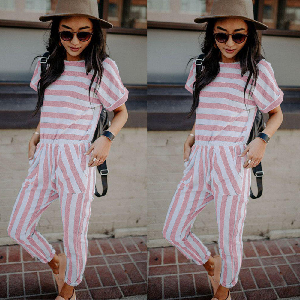 Women Holiday Short Sleeve Striped Long Jumpsuit Casual Beach Pocket Playsuit | Edlpe