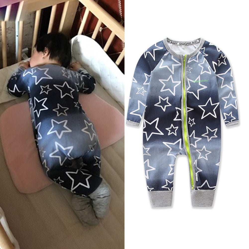 Newborn Baby Boy Girl Printing Bodysuit Long Sleeve Romper Jumpsuit Playsuit Zip Clothes Outfit Set | Edlpe