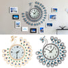 Image of Luxury Peacock Diamond Wall Clocks Metal Digital Needle Home Decoration Clock Vintage Design | Edlpe