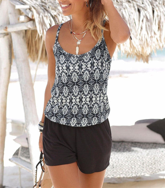Women Sexy Floral Print Backless Vest Shorts Spliced Suspenders Casual Jumpsuit Playsuit | Edlpe