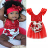 Image of Baby Girls Sequins Romper Floral Bodysuit Jumpsuit Tulle Tutu Dresses Wedding Party Outfits Sets | Edlpe