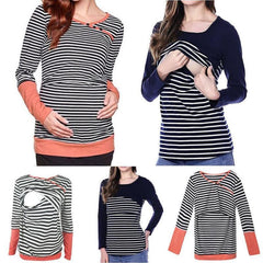 Autumn Breastfeeding Maternity Stripe Layer Long Sleeves top Blouse