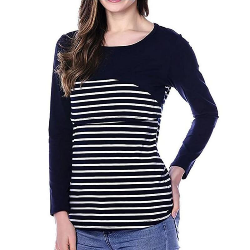 Autumn Breastfeeding Maternity Stripe Layer Long Sleeves Top Blouse | Edlpe