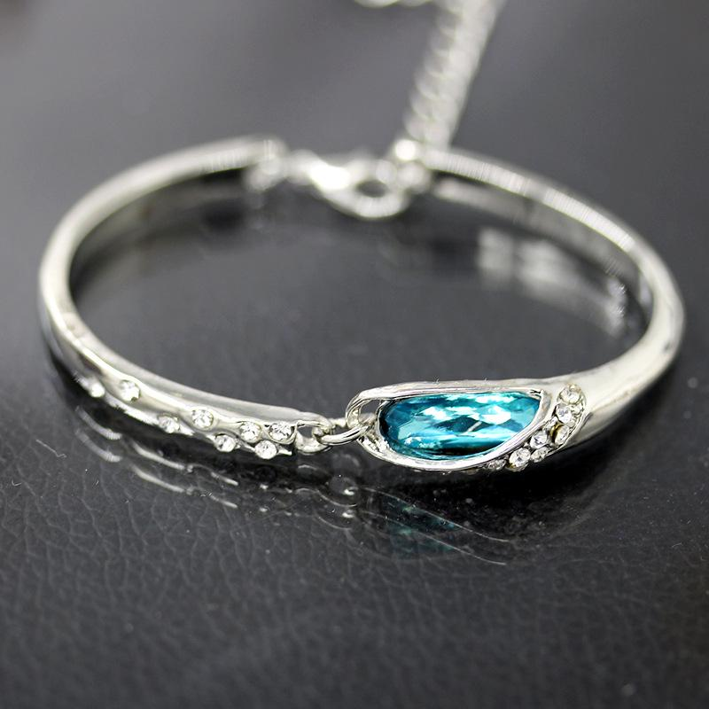 Blue Crystal Bracelets For Women Colorful Transparent Water Drop Crystal Glass Shoes Bracelets | Edlpe